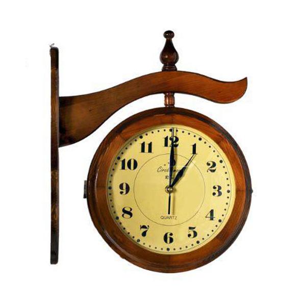 ساعت دیواری دو طرفه چوبی