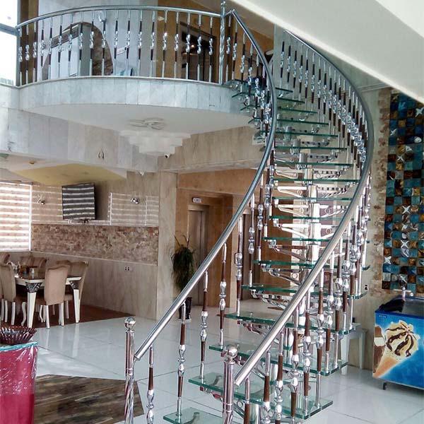 پله پیش ساخته استیل و شیشه - 1509