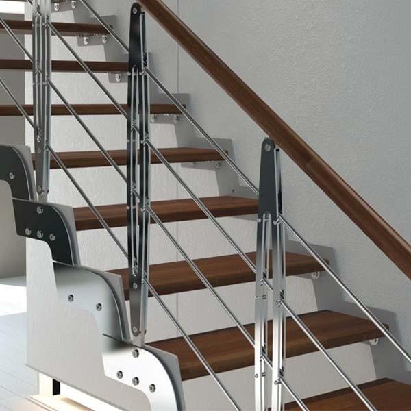 پله پیش ساخته فولادی کف چوبی - 1209