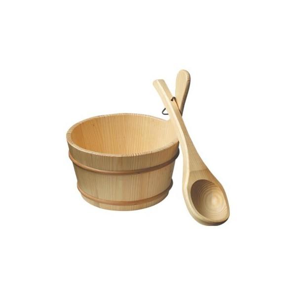 سطل و ملاقه چوبی سونای خشک - PSP-01