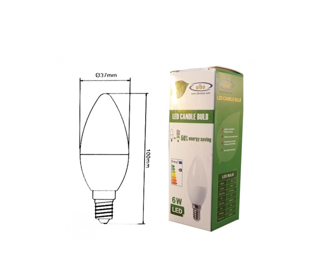 لامپ ال ای دی شمعی - 6w