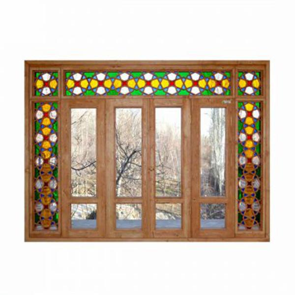 پنجره چوبی پنجره چوبی اُرُسی شیشه رنگی - W202