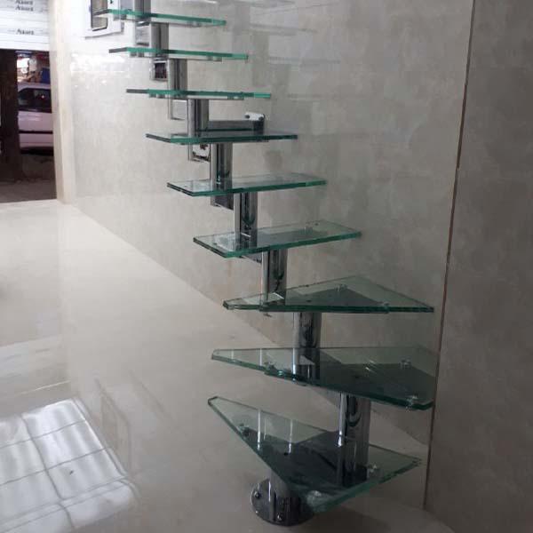 پله پیش ساخته فولادی و کف شیشه ای - 1428