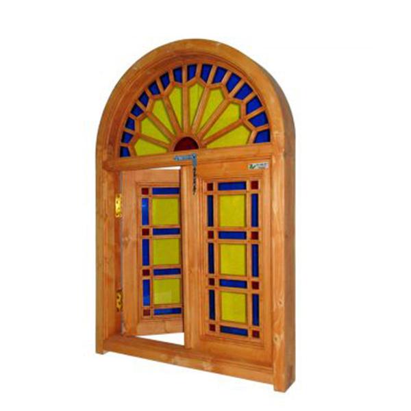پنجره چوبی پنجره چوبی اُرُسی شیشه رنگی - W201