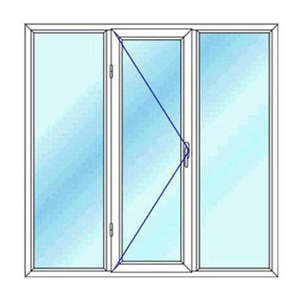 پنجره upvc سه لنگه تک حالته