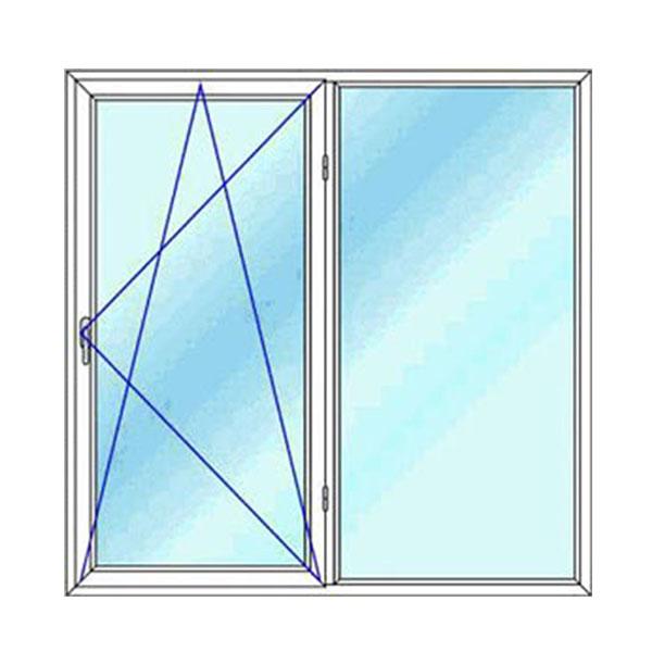 پنجره upvc دو لنگه دو حالته